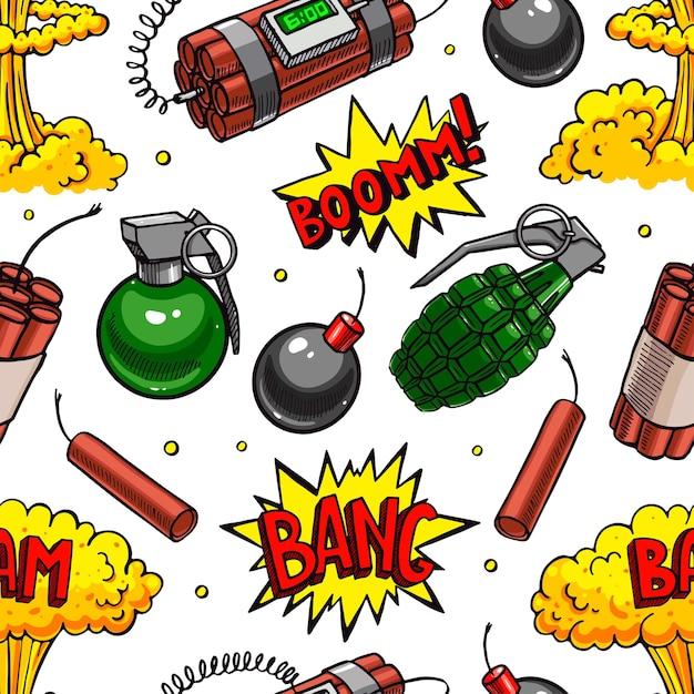 Bonito padrão sem emenda de vários dispositivos explosivos. ilustração desenhada à mão Vetor Premium