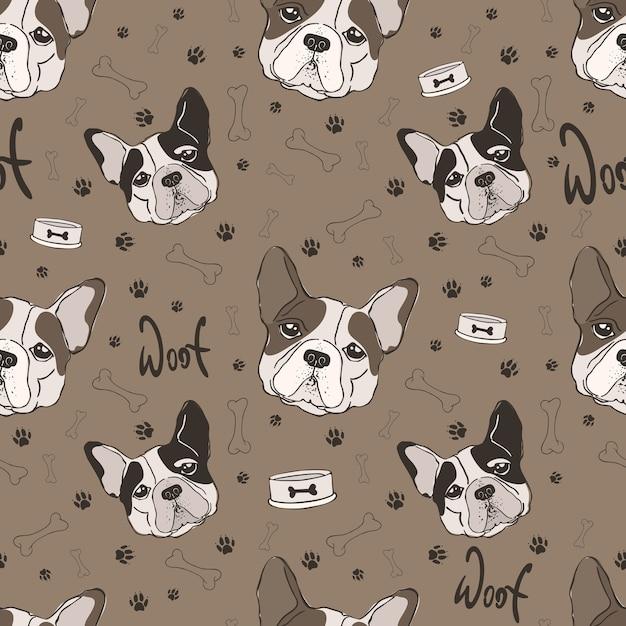 Bonito padrão sem emenda do bulldog francês. Vetor Premium