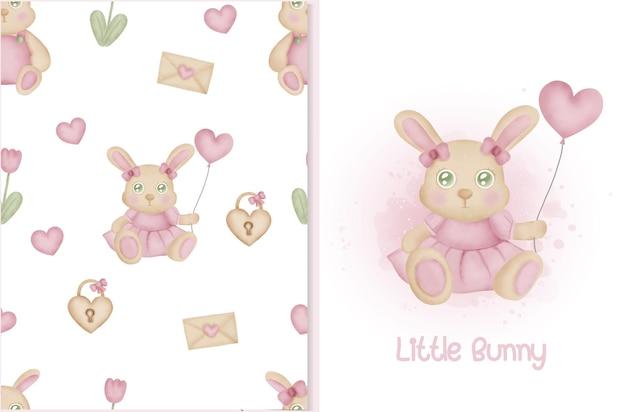 Bonito padrão sem emenda e cartão com elementos de coelho e dia dos namorados. Vetor Premium