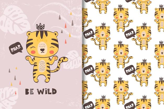 Bonito pequeno cartão de tigre e padrão sem emenda Vetor Premium