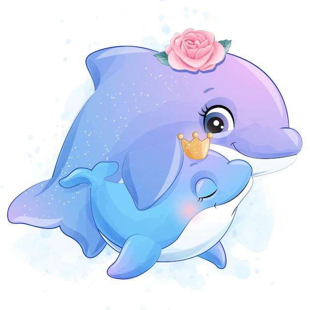 Bonito pequeno golfinho mãe e bebê ilustração Vetor Premium