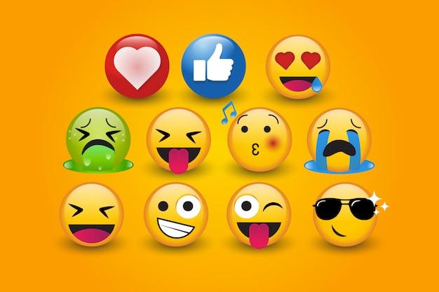 Bonito personagem emoji 3d com amor conjunto coleção de vetores Vetor Premium