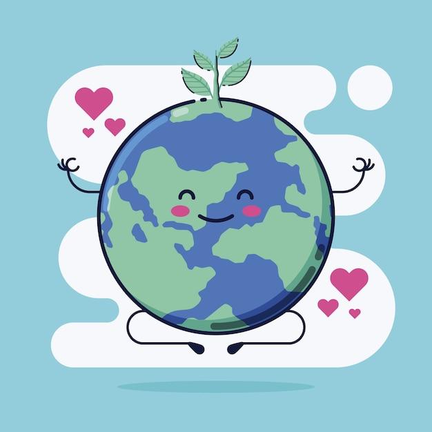 Bonito salvar a ilustração do planeta Vetor grátis