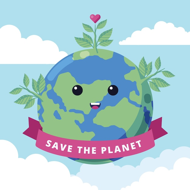 Bonito salvar o conceito de planeta Vetor grátis