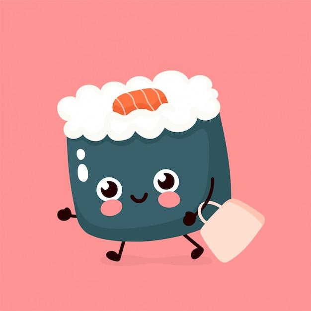 Bonito sushi sorridente feliz, rolo correr com saco. mão desenho estilo ilustração cartão desgin. isolado no branco entrega rápida de comida asiática, japonesa e chinesa Vetor Premium