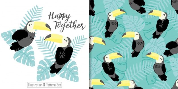 Bonito tucan sonolento pássaro cartão tropical mão desenhada sem costura padrão conjunto Vetor Premium