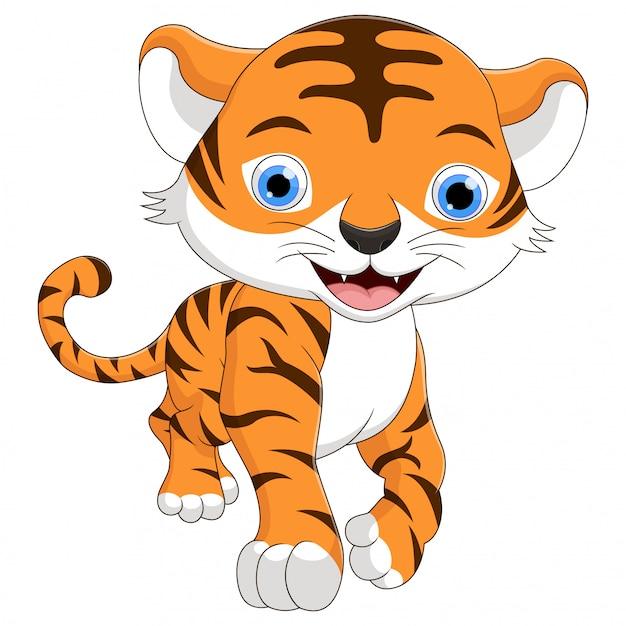Bonito um desenho de tigre de bebê está sorrindo Vetor Premium