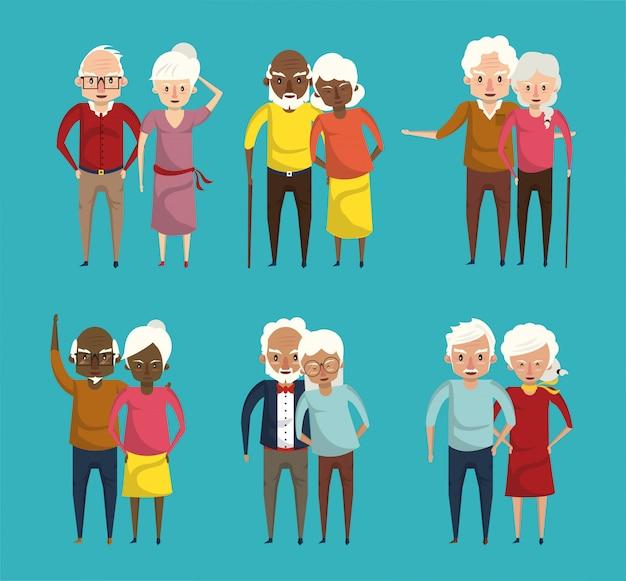 Bonitos avós casais sorrindo cartoons Vetor Premium