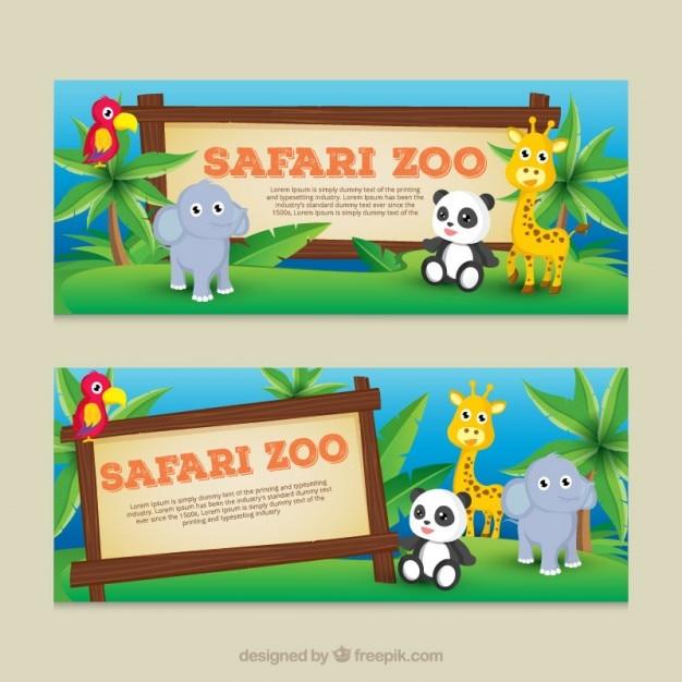 Bonitos banners animais do bebê Vetor grátis