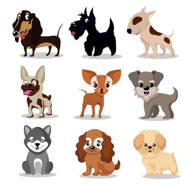 Bonitos cães felizes. coleção de personagens dos desenhos animados engraçados filhotes Vetor Premium