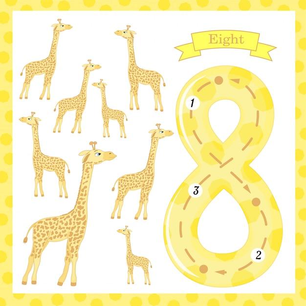 Bonitos crianças flashcard número um traçado com 8 girafas para crianças aprendendo a contar e escrever. Vetor Premium