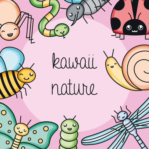 Bonitos e pequenos animais de jardim personagens kawaii Vetor Premium