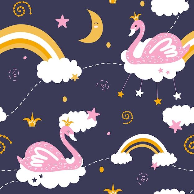 Bonitos padrões sem emenda com cisnes e arco-íris Vetor Premium