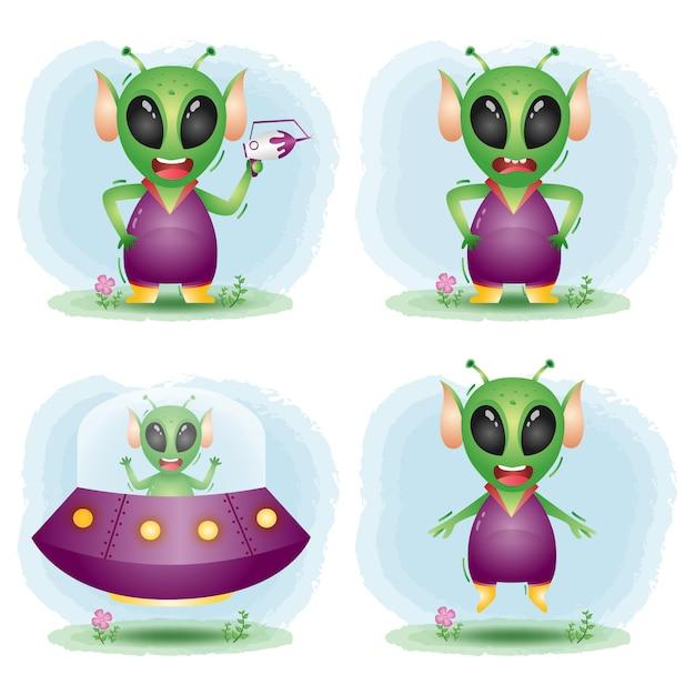 Bonitos personagens alienígenas Vetor Premium