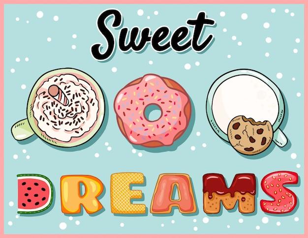 Bons sonhos com xícaras de bebidas e donuts Vetor Premium