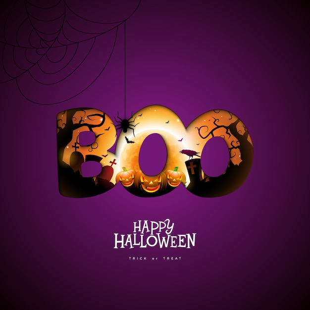 Boo, design feliz de halloween Vetor Premium
