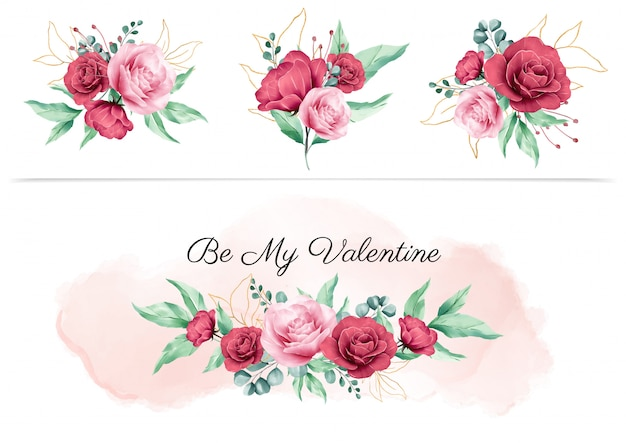 Boquet floral aquarela para elementos de design dos namorados e arranjos de flores para composição de cartão de convite de casamento Vetor Premium