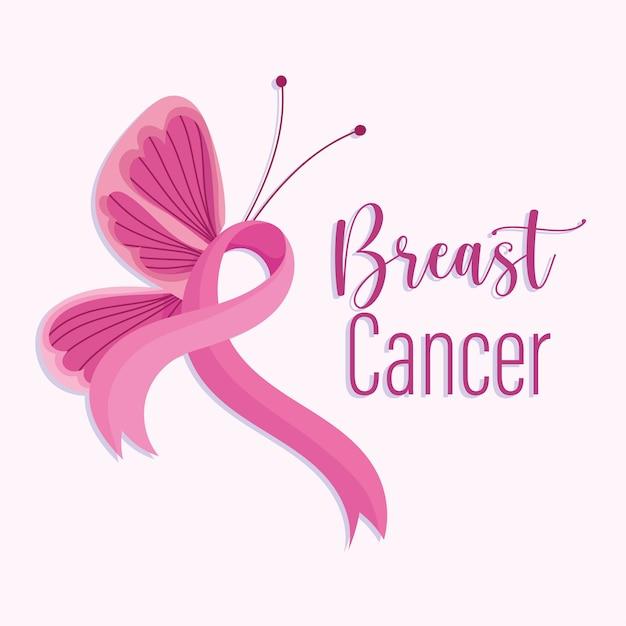 Borboleta do lado da fita rosa do mês da conscientização do câncer de mama Vetor Premium