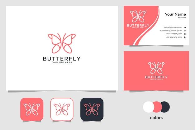 Borboleta elegante com design de logotipo em estilo arte de linha e cartão de visita Vetor Premium
