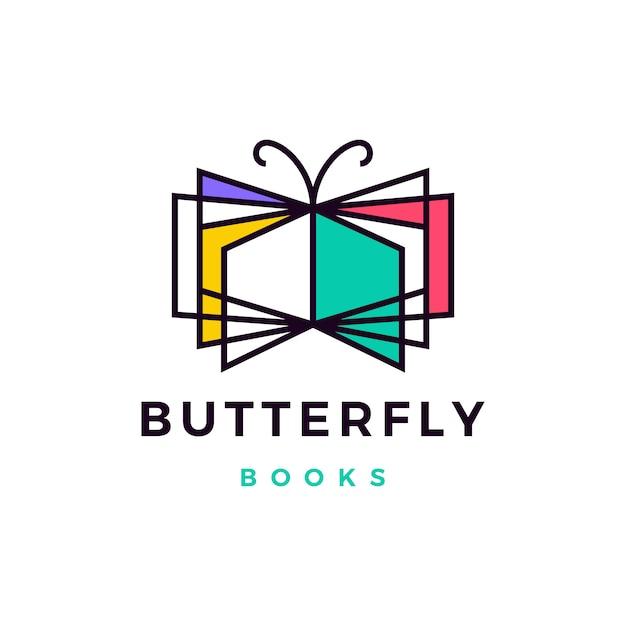 Borboleta livros logotipo icon ilustração Vetor Premium