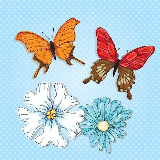 Borboletas coloridas com flores sobre fundo azul Vetor Premium