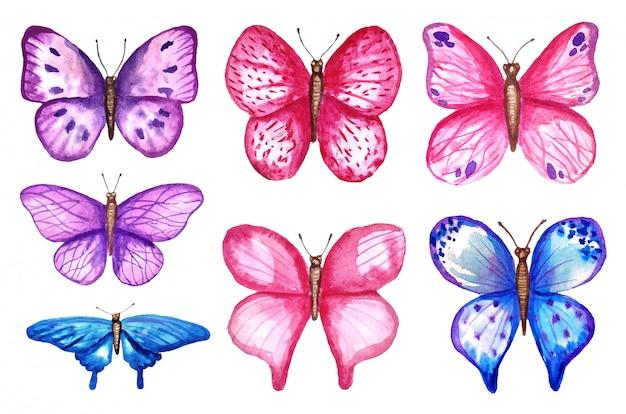 Borboletas coloridas em aquarela, isoladas no fundo branco. ilustração de primavera borboleta azul, rosa e violeta. Vetor Premium