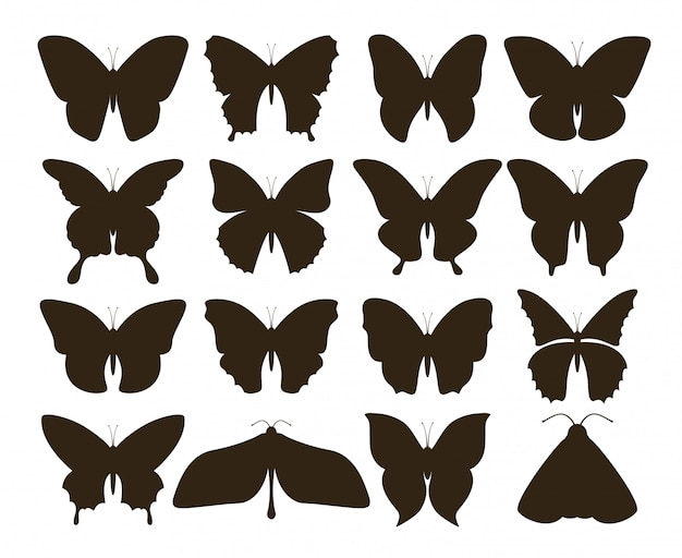 Borboletas de silhueta. coleção simples de formas de tatuagem preto mão desenhada, conjunto de insetos mosca vintage. desenho de borboleta Vetor Premium