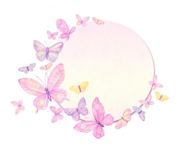 Borboletas, quadro de borboletas, cartão de felicitações, aquarela Vetor Premium