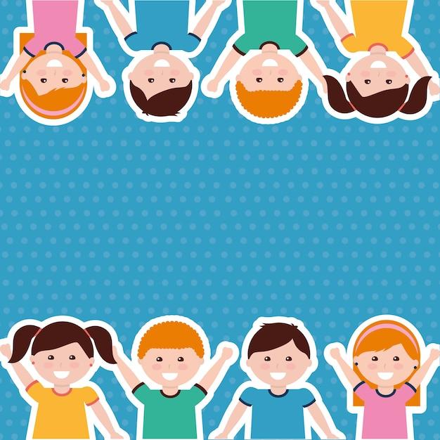 Borda bonito dos miúdos das crianças dos desenhos animados Vetor Premium