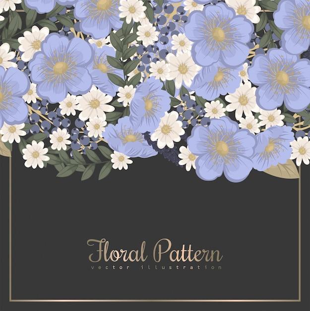 Borda da flor - flor azul claro Vetor Premium
