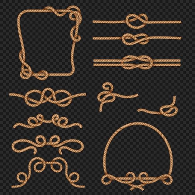 Borda de corda e conjunto de quadros Vetor Premium