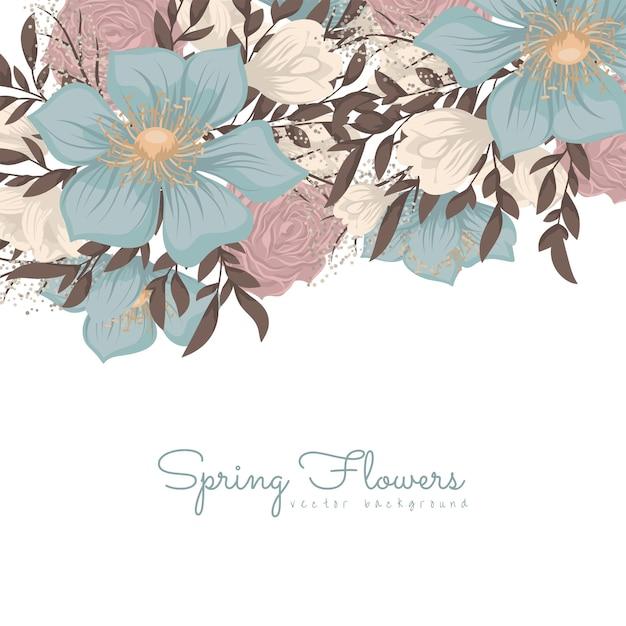 Borda de desenhos de flores - flores azuis Vetor grátis