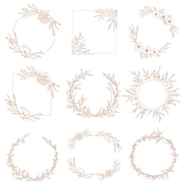 Borda de grinalda quadros botânicos decorativos de ramos e flores Vetor Premium