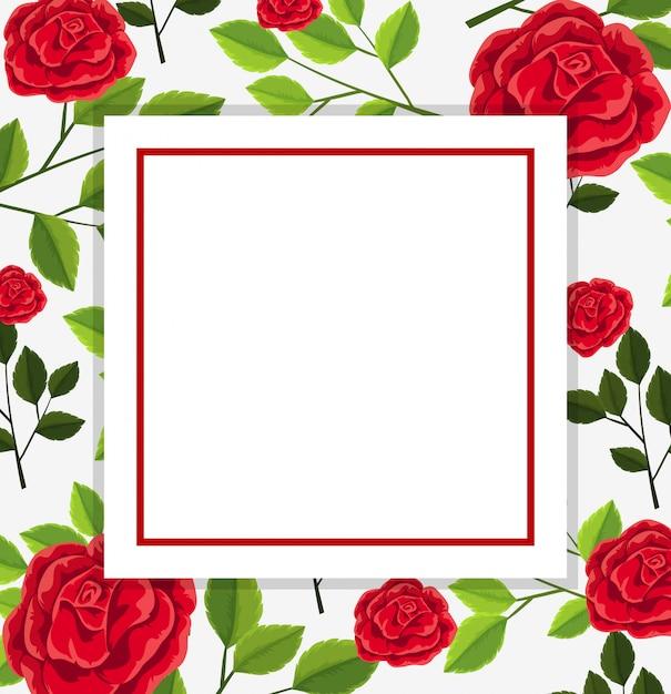 Borda De Quadro De Flor Vermelha Vetor Premium