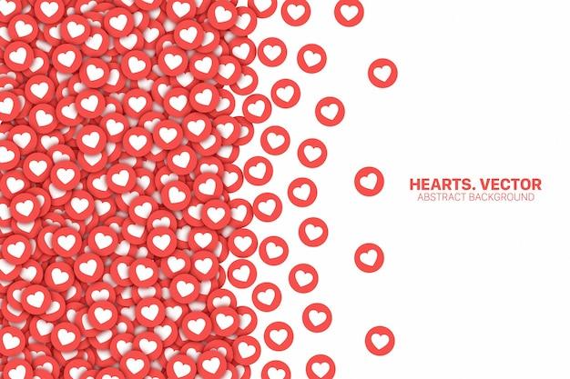Borda dos ícones lisos vermelhos do facebook e do instagram com corações dispersos isolada no fundo branco Vetor Premium