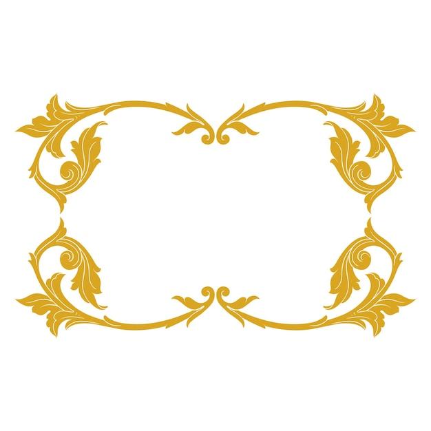 Borda e moldura em ouro com estilo barroco. elementos de ornamento Vetor Premium