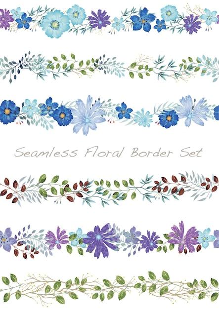 Borda floral aquarela de vetor sem costura definida em branco Vetor grátis