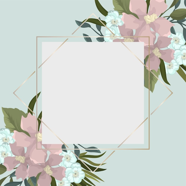 Borda floral - borda de flor rosa Vetor grátis