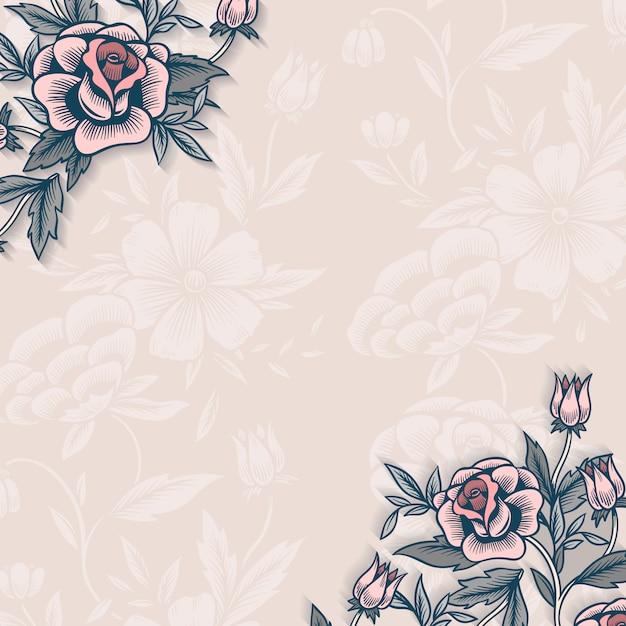 Borda floral com espaço de cópia Vetor grátis