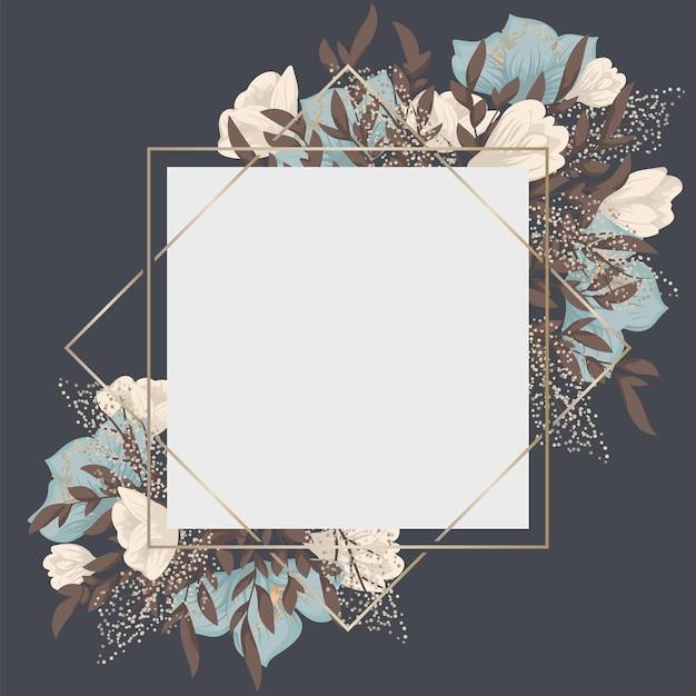 Borda floral com flores doces Vetor Premium