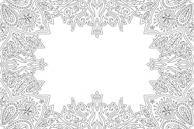Borda Floral Linear Para Colorir Pagina De Livro Para Adultos
