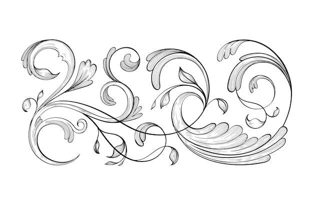 Borda ornamental desenhada de mão realista em estilo barroco Vetor grátis