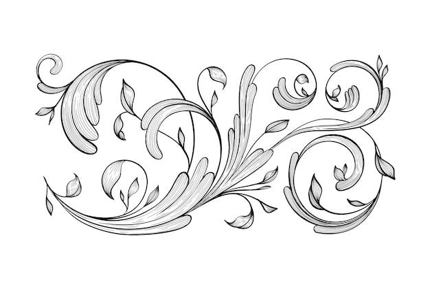 Borda ornamental desenhada de mão vintage em estilo barroco Vetor grátis