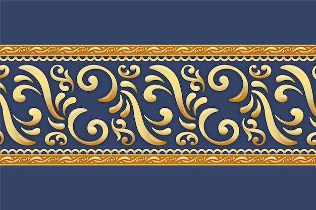 Borda ornamental dourada com fundo azul Vetor grátis