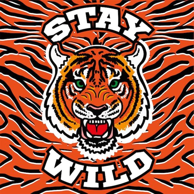 Bordado de design gráfico imprimir com tigre selvagem cabeça com raiva com a frase