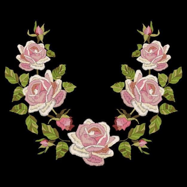 Bordado De Rosas Com Folhas E Brotos Linha De Pescoco Flores
