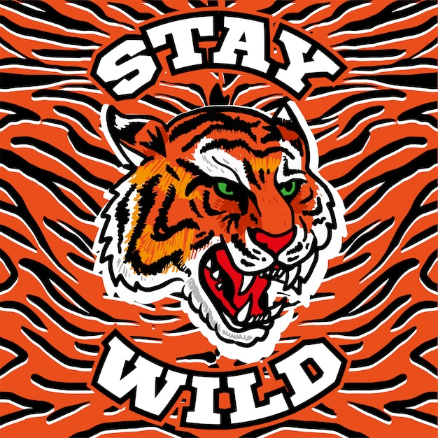Bordado imprimir com tigre selvagem cabeça com raiva com a frase