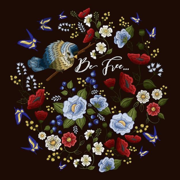 Bordado padrão colorido com ornamento floral Vetor grátis