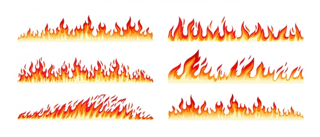 Bordas de fogo em branco Vetor Premium