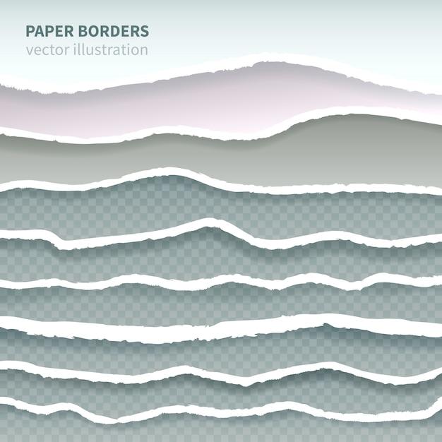 Bordas de papel colhidas rasgadas coleção de elementos realistas de várias camadas horizontais sem costura horizontais realista geométricas Vetor grátis